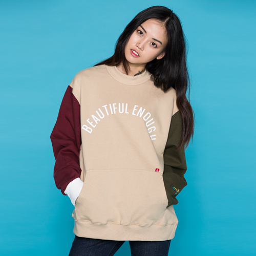 COLOR BLOCK SWEAT SHIRT BEIGE