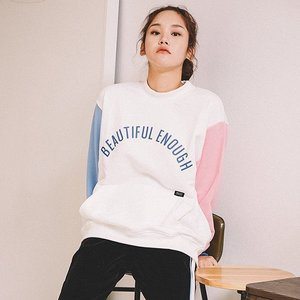COLOR BLOCK SWEAT SHIRT IVORY