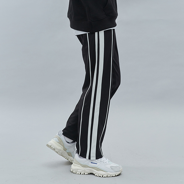 DOUBLE LINE TRACK PANTS BLACKIVORY